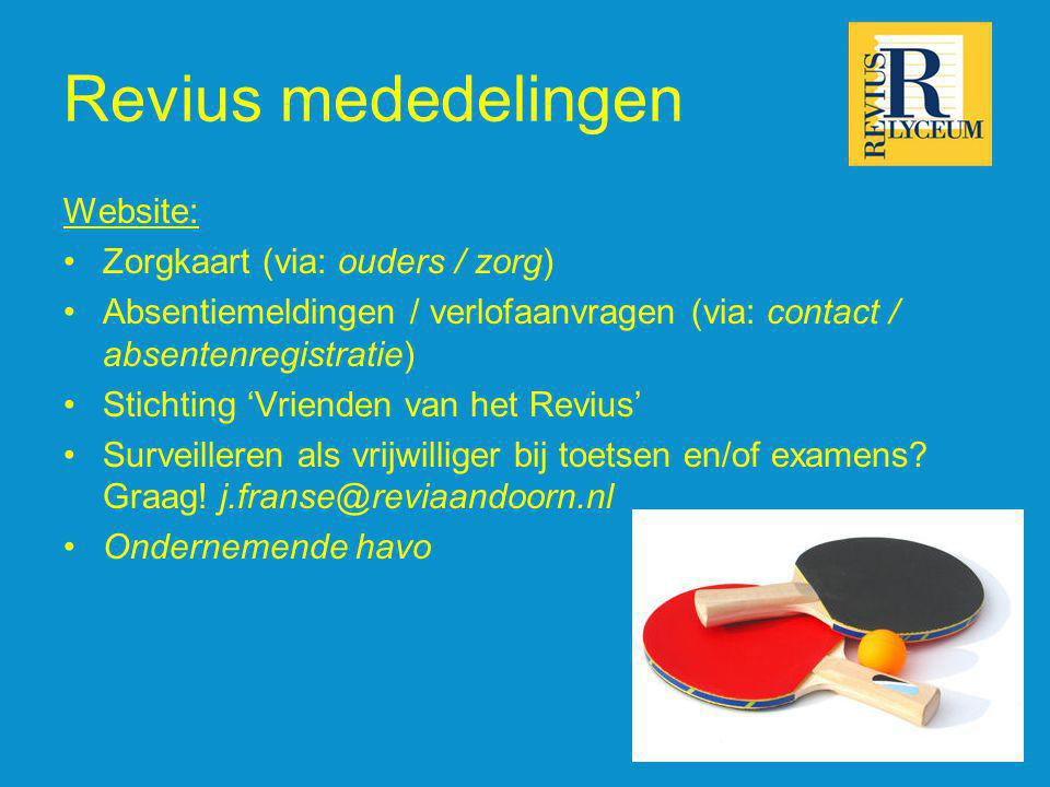 Revius mededelingen Website: Zorgkaart (via: ouders / zorg)