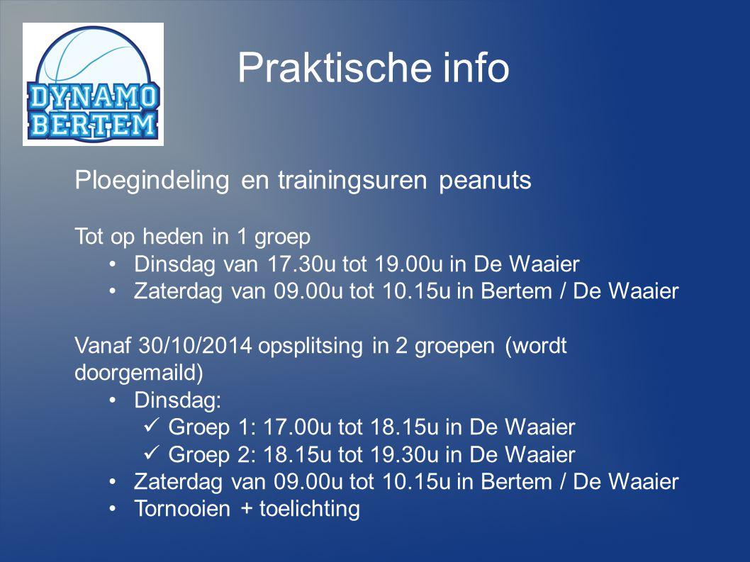 Praktische info Ploegindeling en trainingsuren peanuts