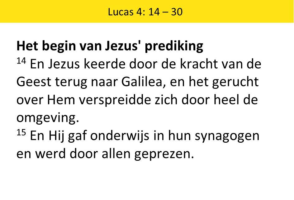 Het begin van Jezus prediking