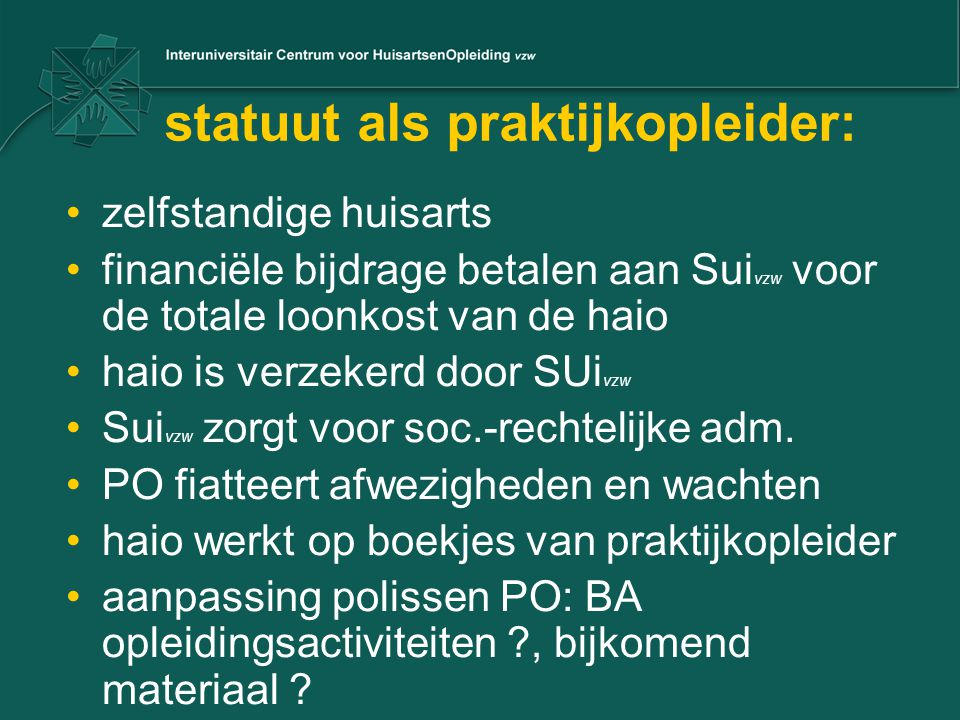 statuut als praktijkopleider: