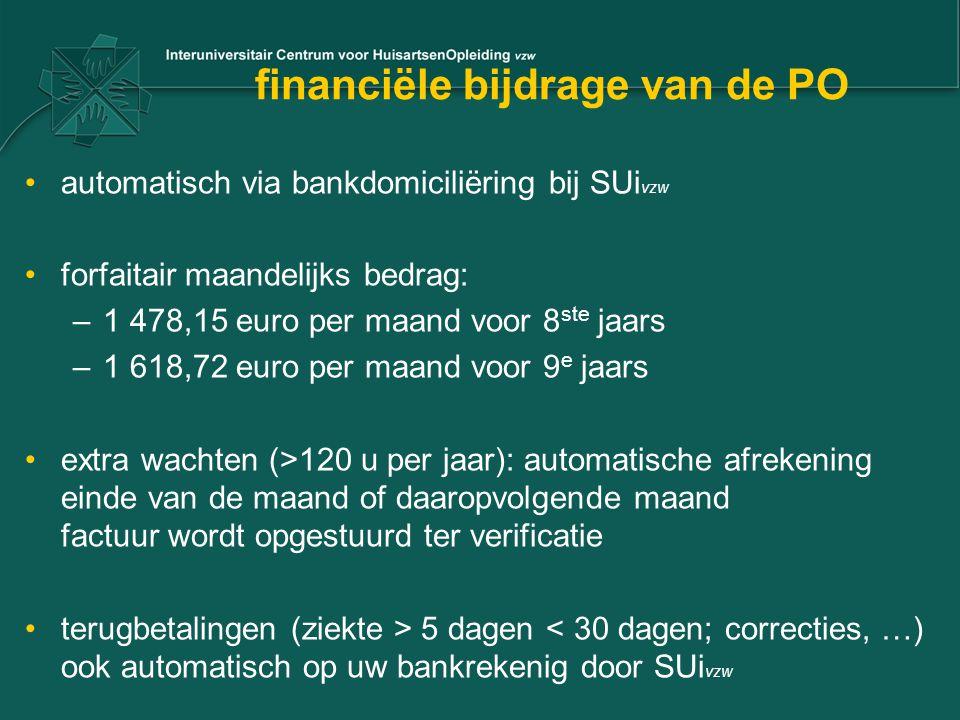financiële bijdrage van de PO