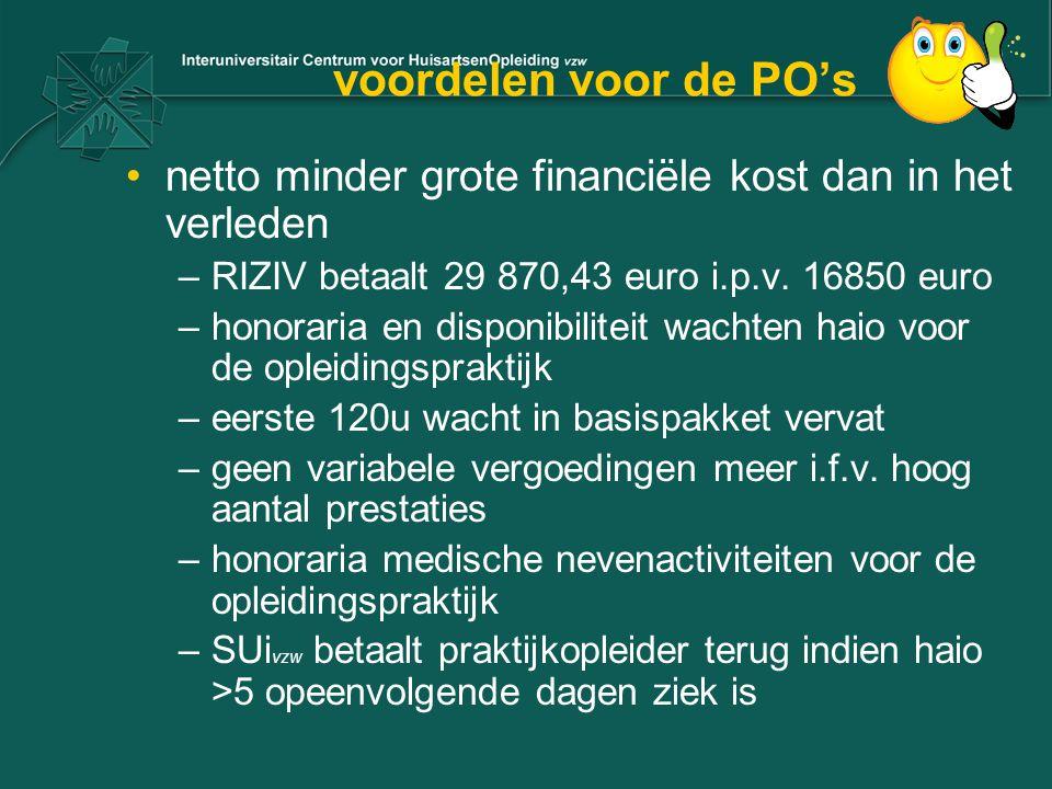 voordelen voor de PO's netto minder grote financiële kost dan in het verleden. RIZIV betaalt 29 870,43 euro i.p.v. 16850 euro.
