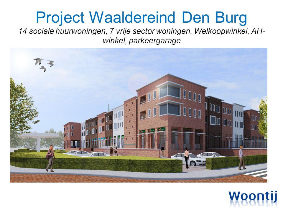 Project Waaldereind Den Burg 14 sociale huurwoningen, 7 vrije sector woningen, Welkoopwinkel, AH-winkel, parkeergarage