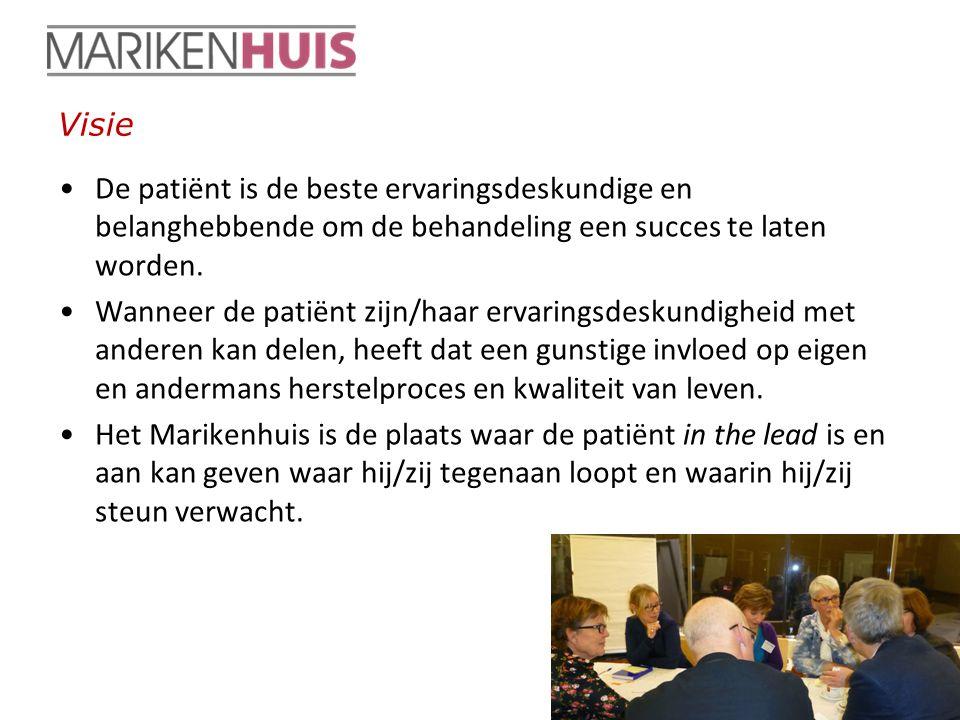Visie De patiënt is de beste ervaringsdeskundige en belanghebbende om de behandeling een succes te laten worden.