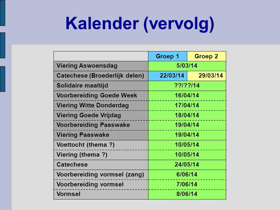 Kalender (vervolg) Groep 1 Groep 2 Viering Aswoensdag 5/03/14