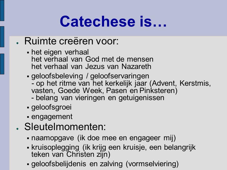 Catechese is… Ruimte creëren voor: Sleutelmomenten: