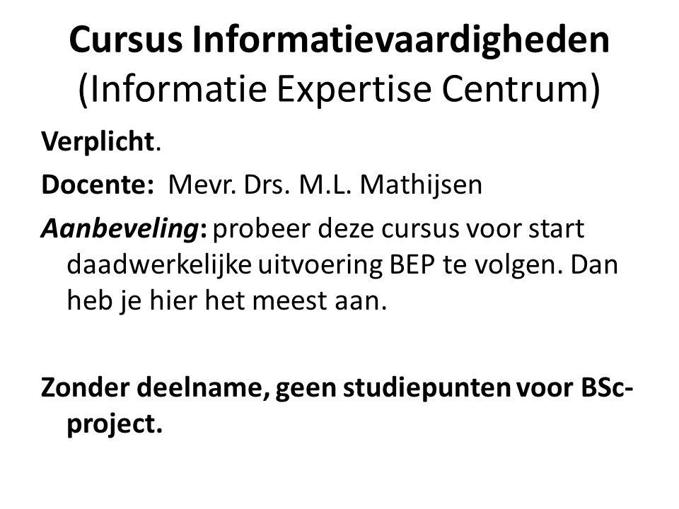 Cursus Informatievaardigheden (Informatie Expertise Centrum)