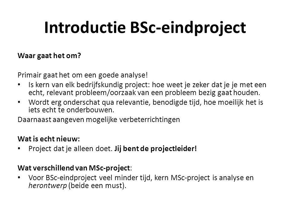 Introductie BSc-eindproject