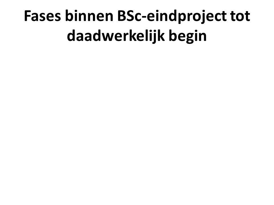 Fases binnen BSc-eindproject tot daadwerkelijk begin