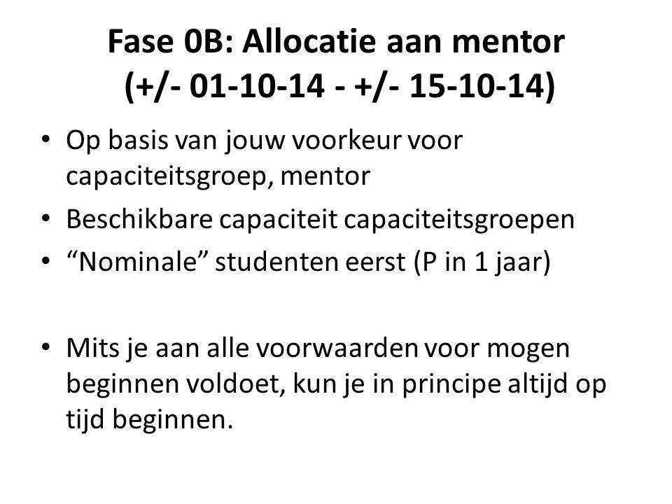 Fase 0B: Allocatie aan mentor (+/- 01-10-14 - +/- 15-10-14)