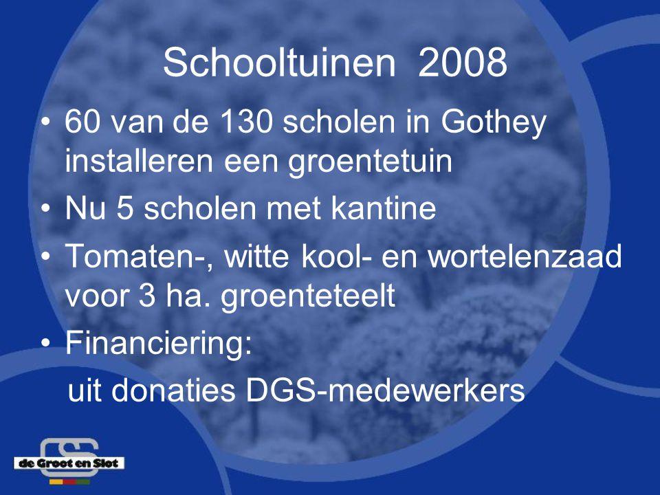 Schooltuinen 2008 60 van de 130 scholen in Gothey installeren een groentetuin. Nu 5 scholen met kantine.