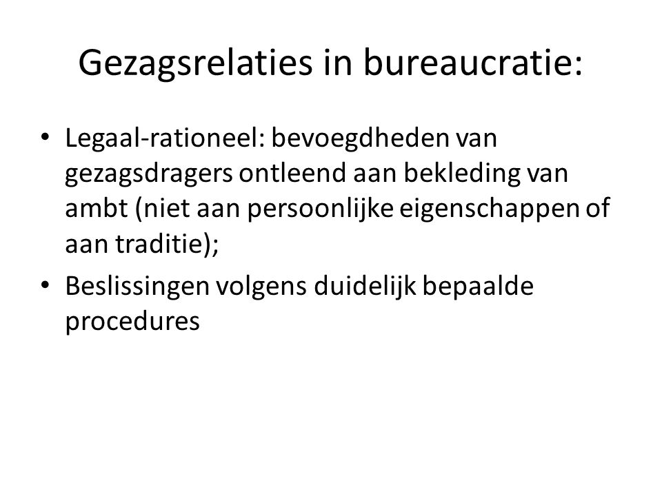 Gezagsrelaties in bureaucratie: