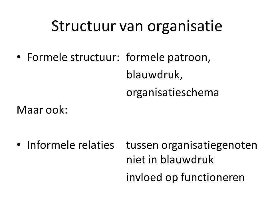 Structuur van organisatie