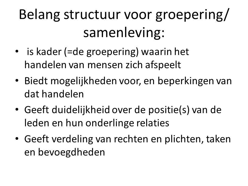Belang structuur voor groepering/ samenleving:
