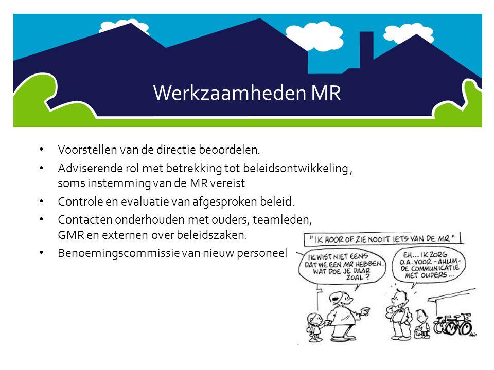 Werkzaamheden MR Voorstellen van de directie beoordelen.