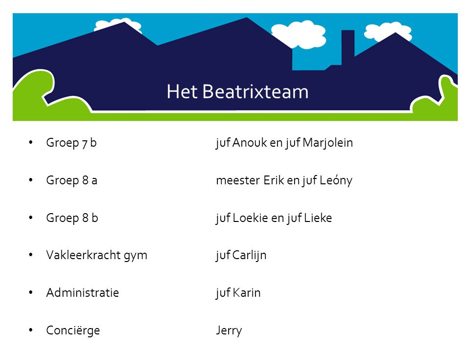 Het Beatrixteam Groep 7 b juf Anouk en juf Marjolein