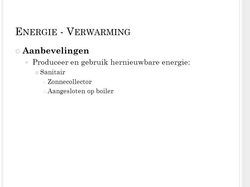 Energie - Verwarming Aanbevelingen