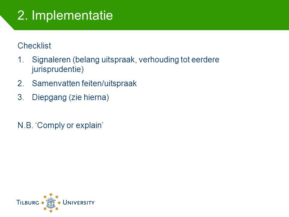 2. Implementatie Checklist