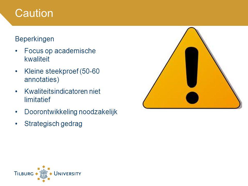 Caution Beperkingen Focus op academische kwaliteit