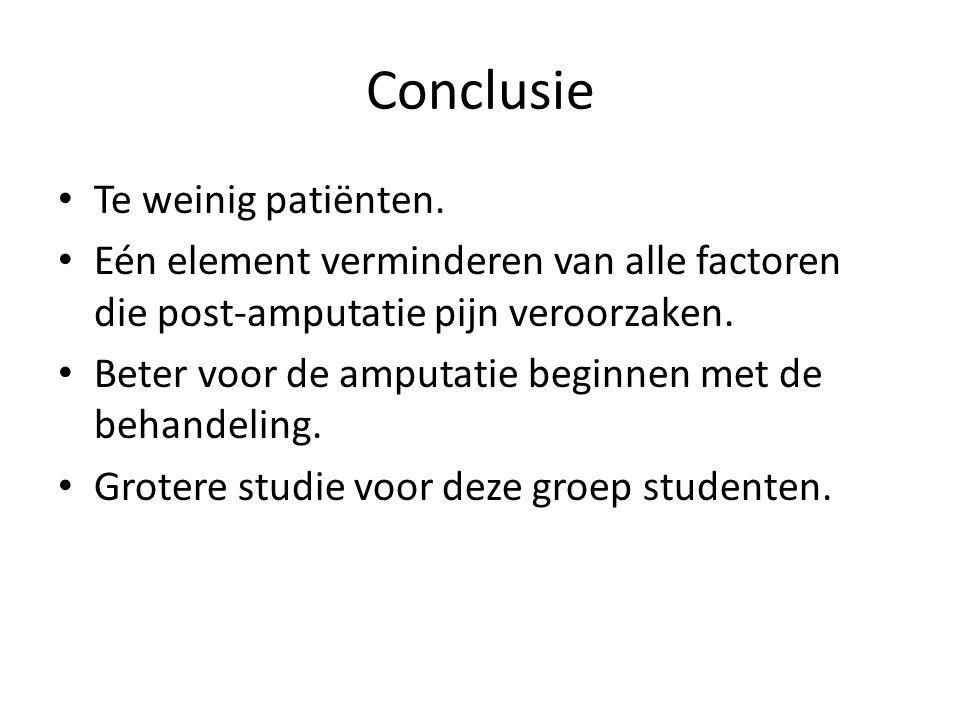 Conclusie Te weinig patiënten.