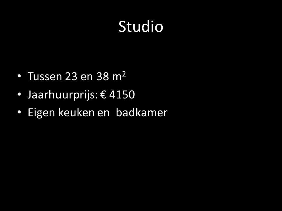 Studio Tussen 23 en 38 m2 Jaarhuurprijs: € 4150