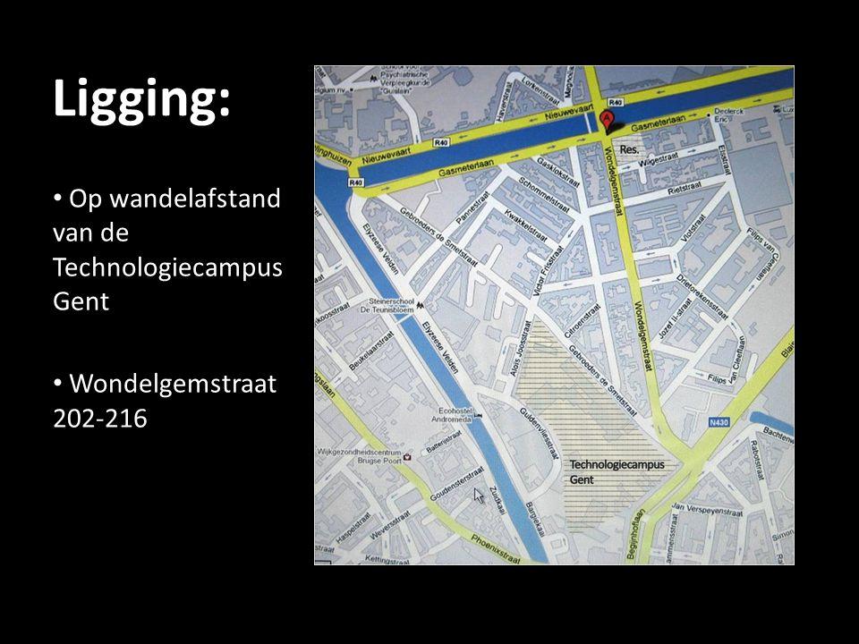 Ligging: Op wandelafstand van de Technologiecampus Gent