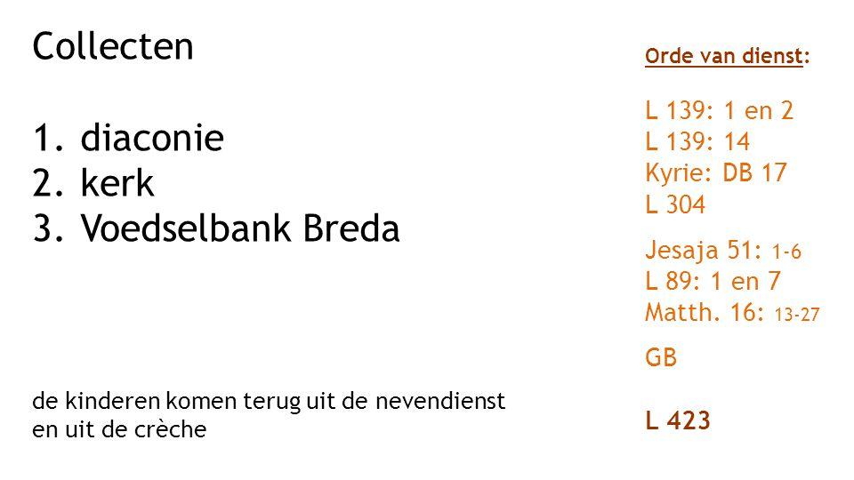 Collecten diaconie kerk Voedselbank Breda L 139: 1 en 2 L 139: 14