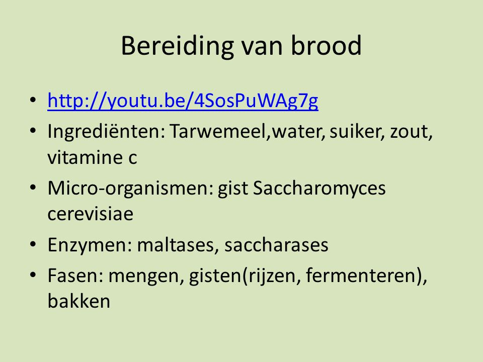 Bereiding van brood http://youtu.be/4SosPuWAg7g