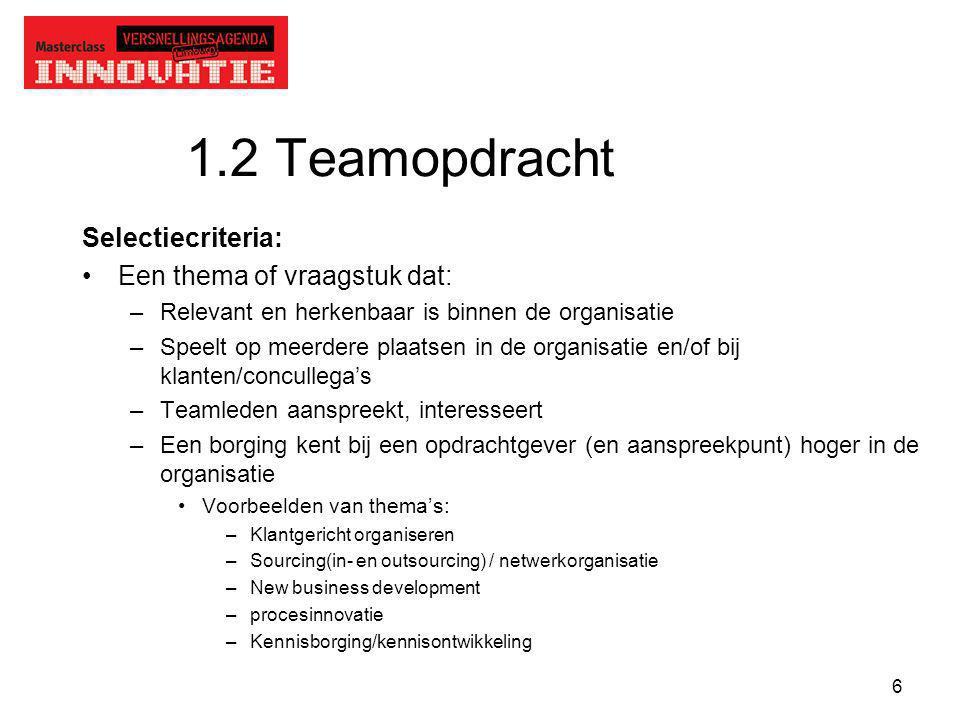 1.2 Teamopdracht Selectiecriteria: Een thema of vraagstuk dat: