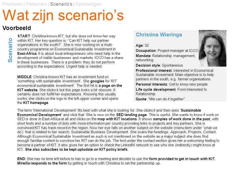 Wat zijn scenario's Voorbeeld Scenario Christina Wieringa