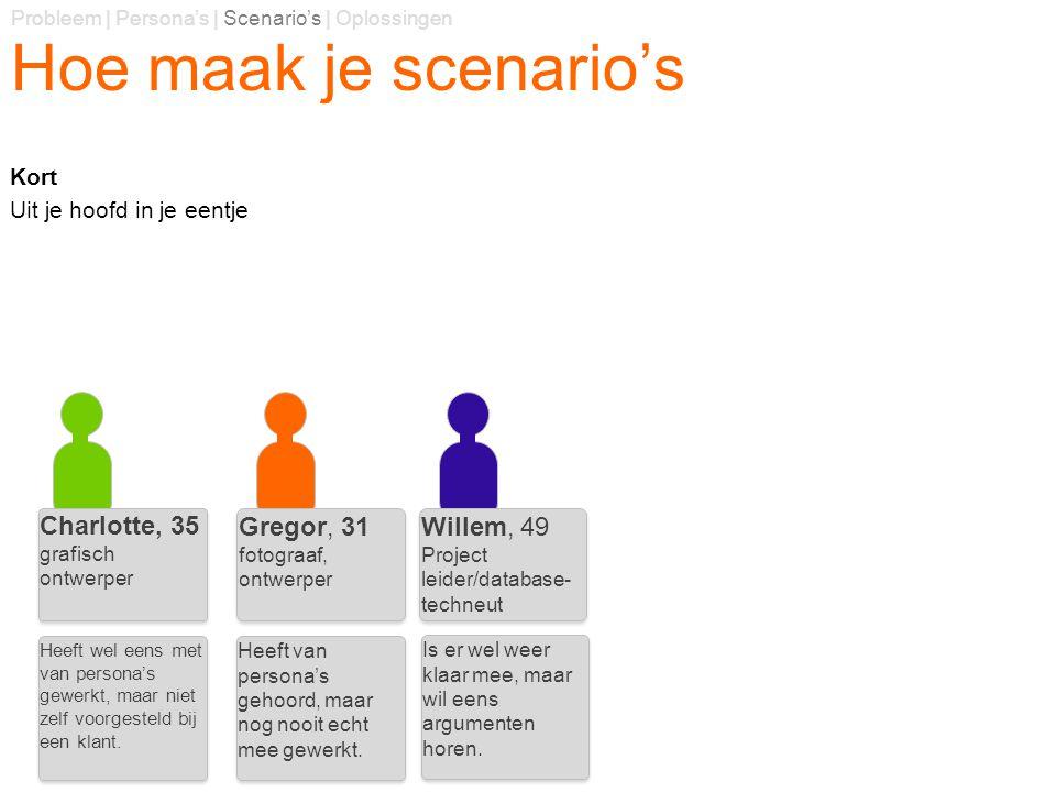 Hoe maak je scenario's Charlotte, 35 Gregor, 31 Willem, 49 Kort