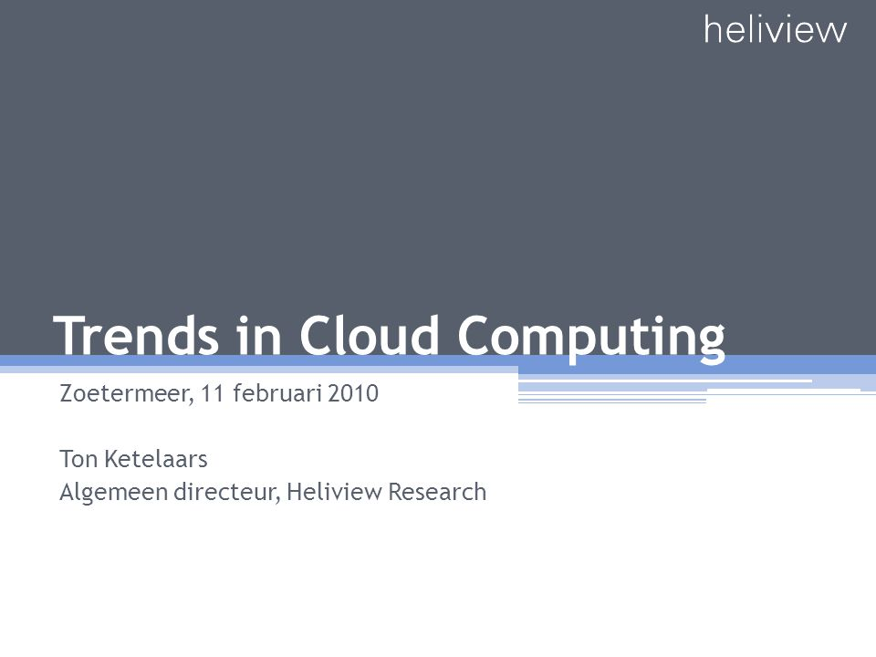 Trends in Cloud Computing