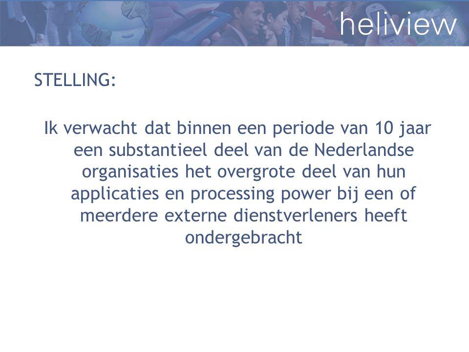 STELLING: Ik verwacht dat binnen een periode van 10 jaar een substantieel deel van de Nederlandse organisaties het overgrote deel van hun applicaties en processing power bij een of meerdere externe dienstverleners heeft ondergebracht