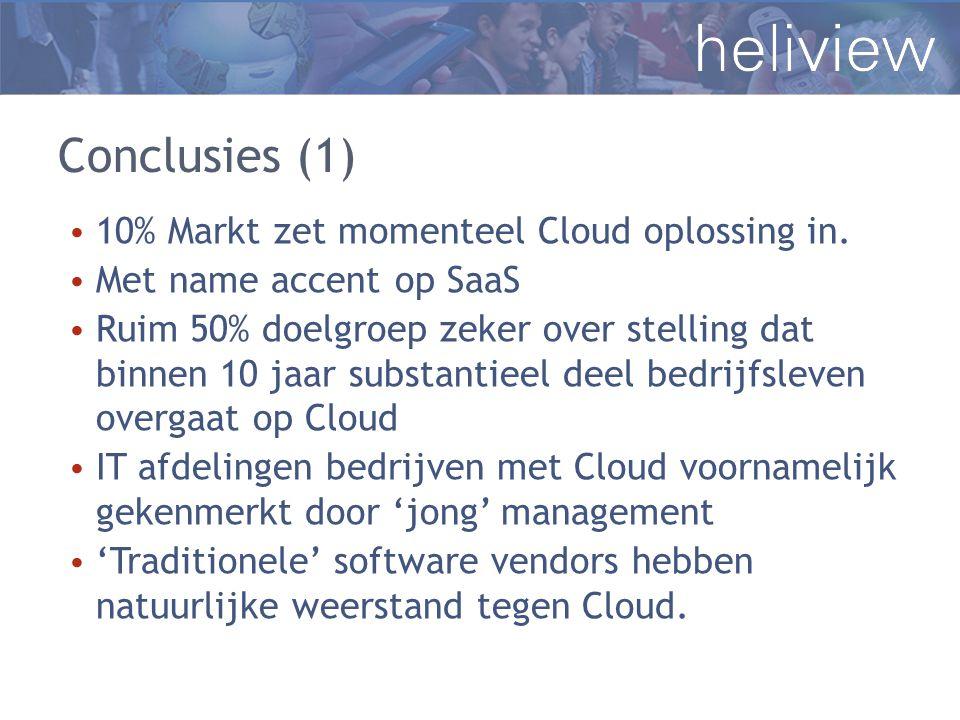 Conclusies (1) 10% Markt zet momenteel Cloud oplossing in.