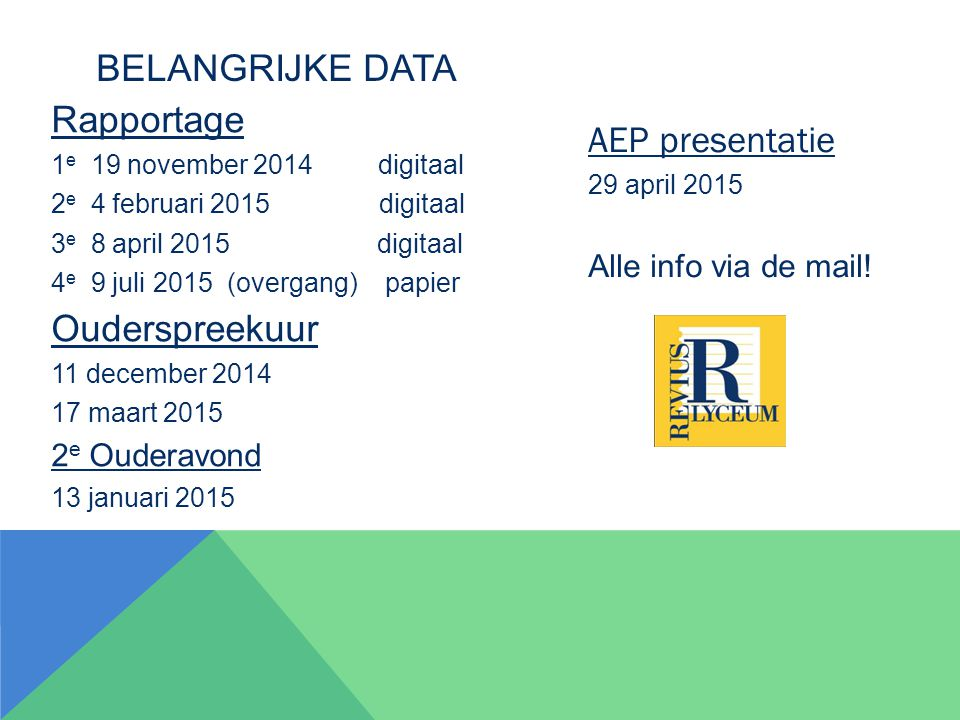 Belangrijke data Rapportage AEP presentatie Ouderspreekuur