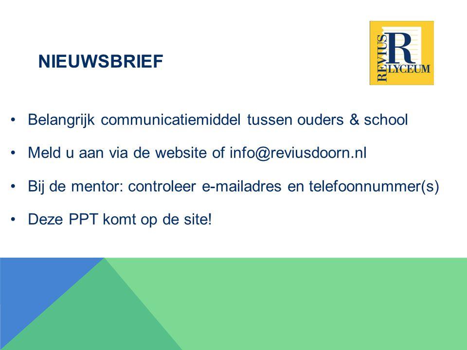 Nieuwsbrief Belangrijk communicatiemiddel tussen ouders & school