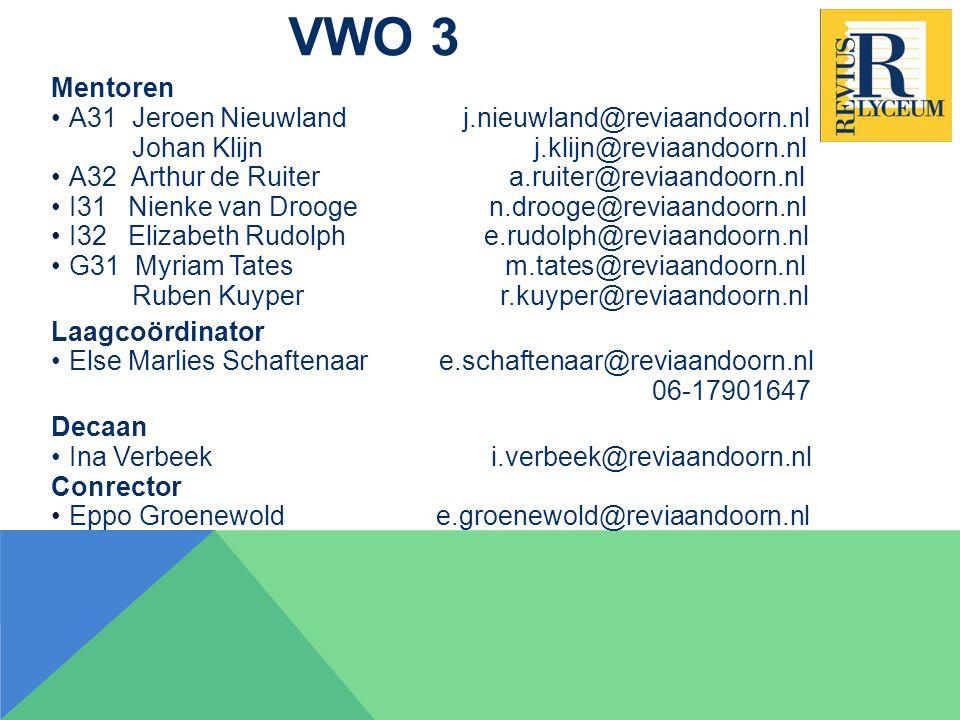 VWO 3 Mentoren A31 Jeroen Nieuwland j.nieuwland@reviaandoorn.nl