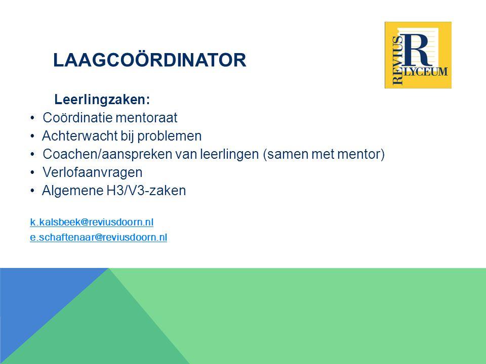 Laagcoördinator Leerlingzaken: Coördinatie mentoraat