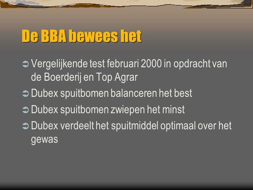 De BBA bewees het Vergelijkende test februari 2000 in opdracht van de Boerderij en Top Agrar. Dubex spuitbomen balanceren het best.
