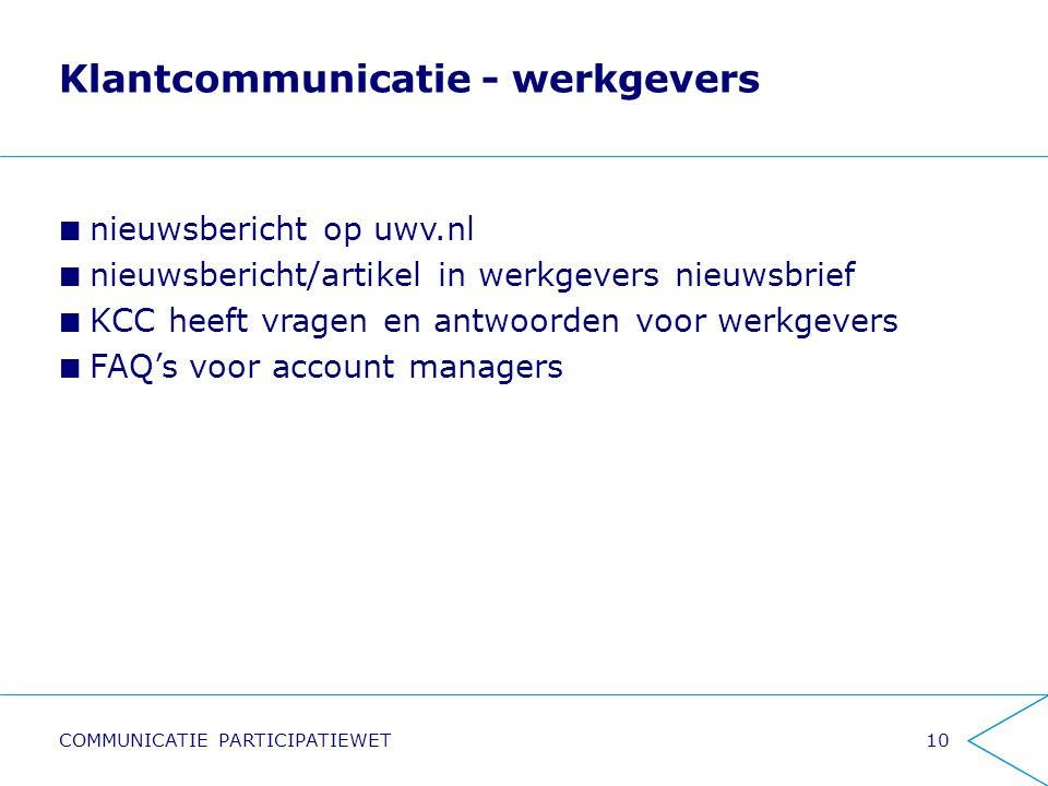 Klantcommunicatie - werkgevers