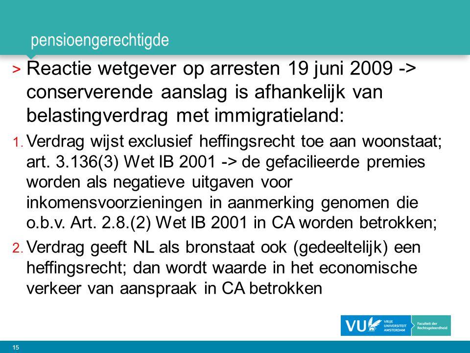 pensioengerechtigde Reactie wetgever op arresten 19 juni 2009 -> conserverende aanslag is afhankelijk van belastingverdrag met immigratieland:
