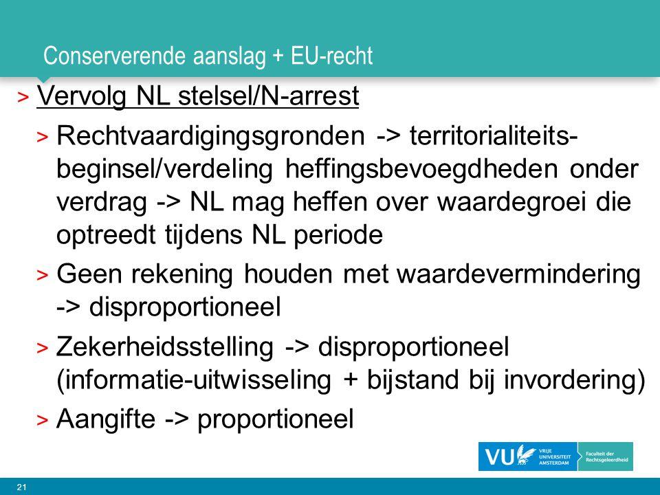 Conserverende aanslag + EU-recht
