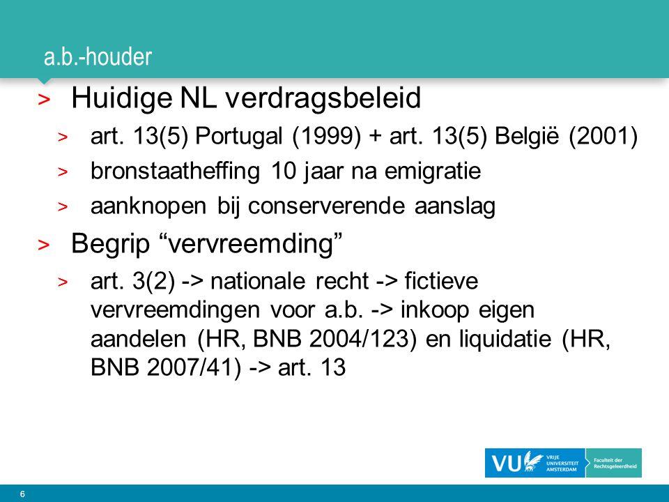 Huidige NL verdragsbeleid
