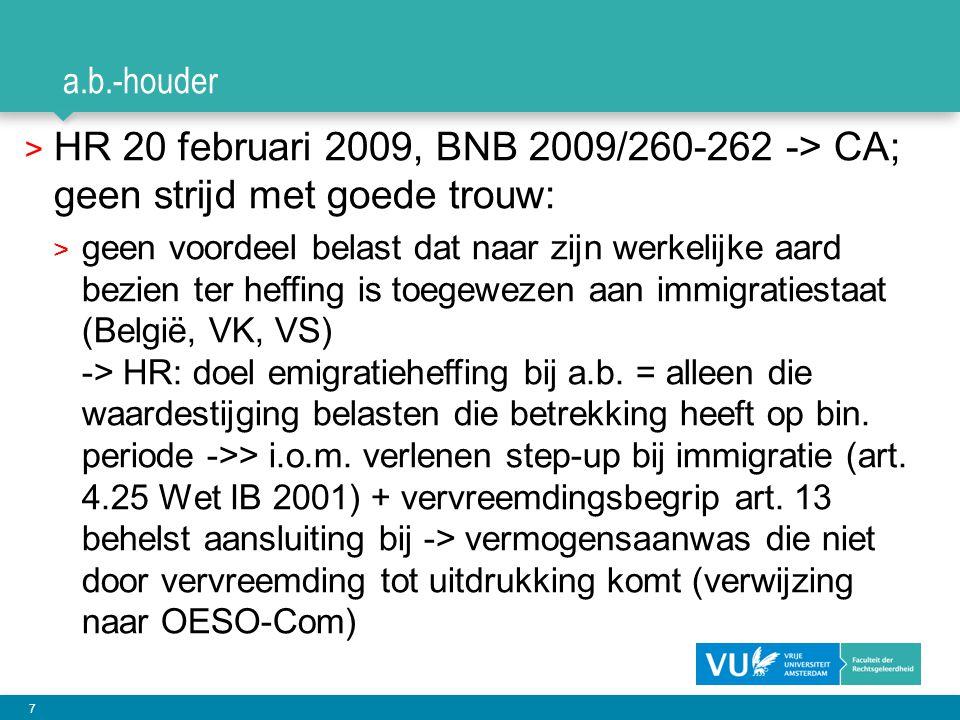 a.b.-houder HR 20 februari 2009, BNB 2009/260-262 -> CA; geen strijd met goede trouw: