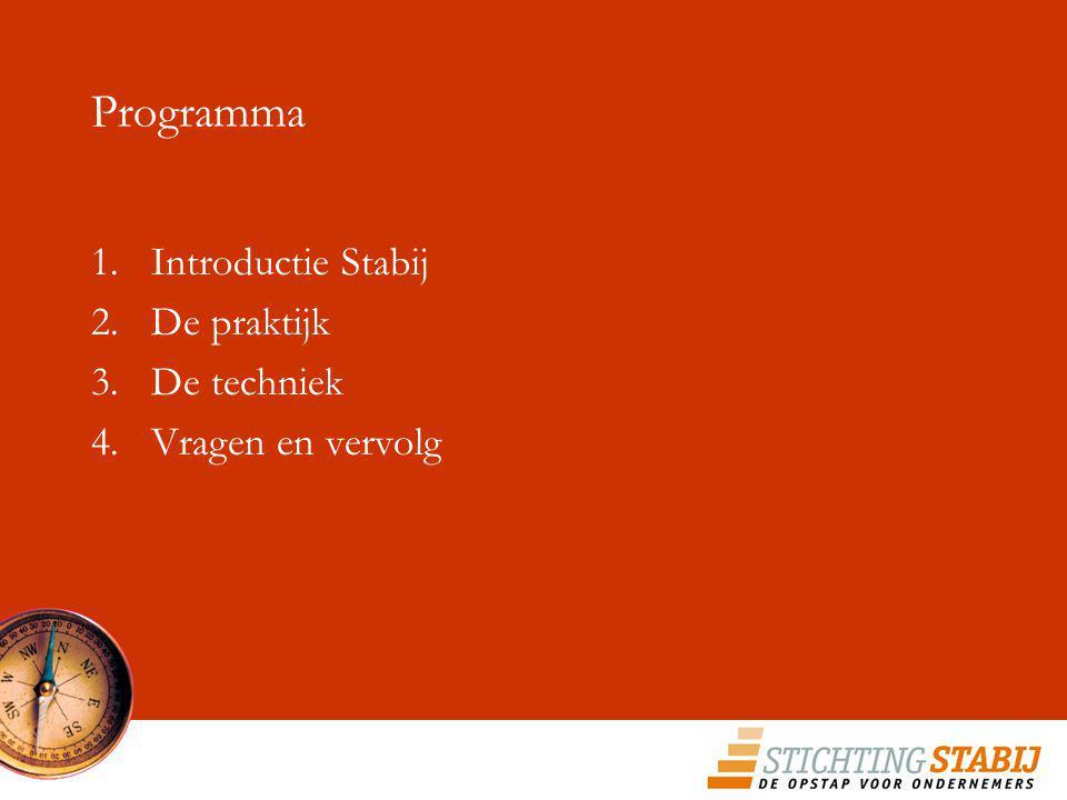 Programma Introductie Stabij De praktijk De techniek Vragen en vervolg