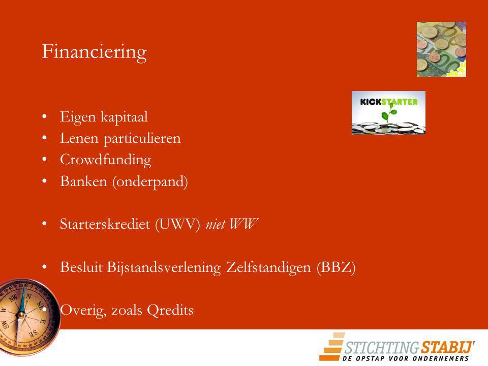 Financiering Eigen kapitaal Lenen particulieren Crowdfunding