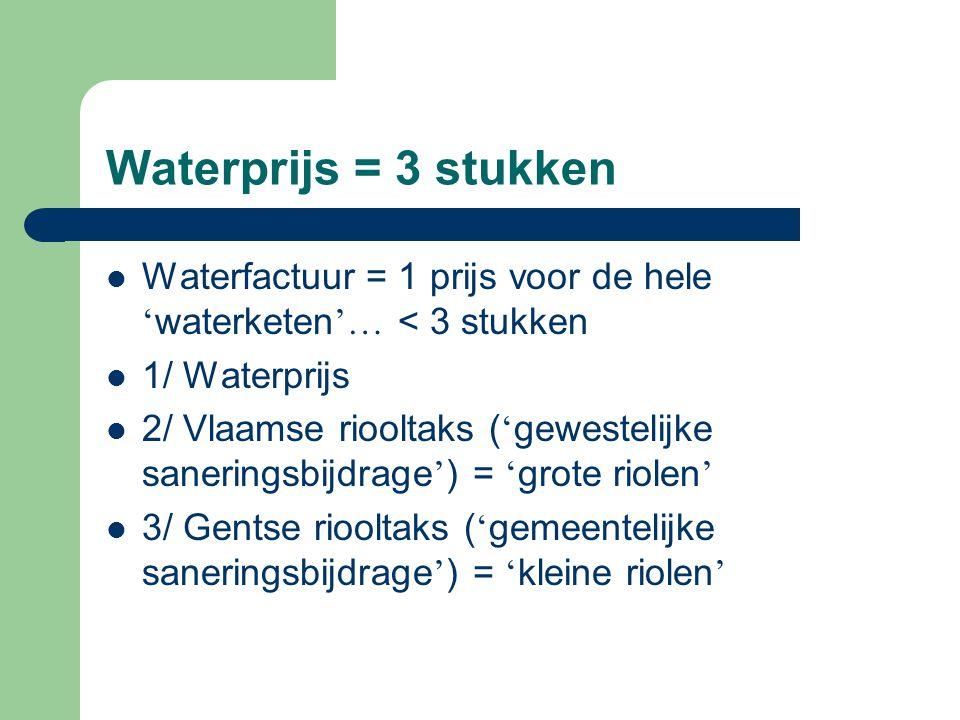 Waterprijs = 3 stukken Waterfactuur = 1 prijs voor de hele 'waterketen'… < 3 stukken. 1/ Waterprijs.