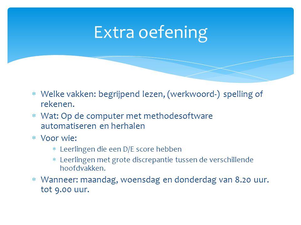 Extra oefening Welke vakken: begrijpend lezen, (werkwoord-) spelling of rekenen. Wat: Op de computer met methodesoftware automatiseren en herhalen.