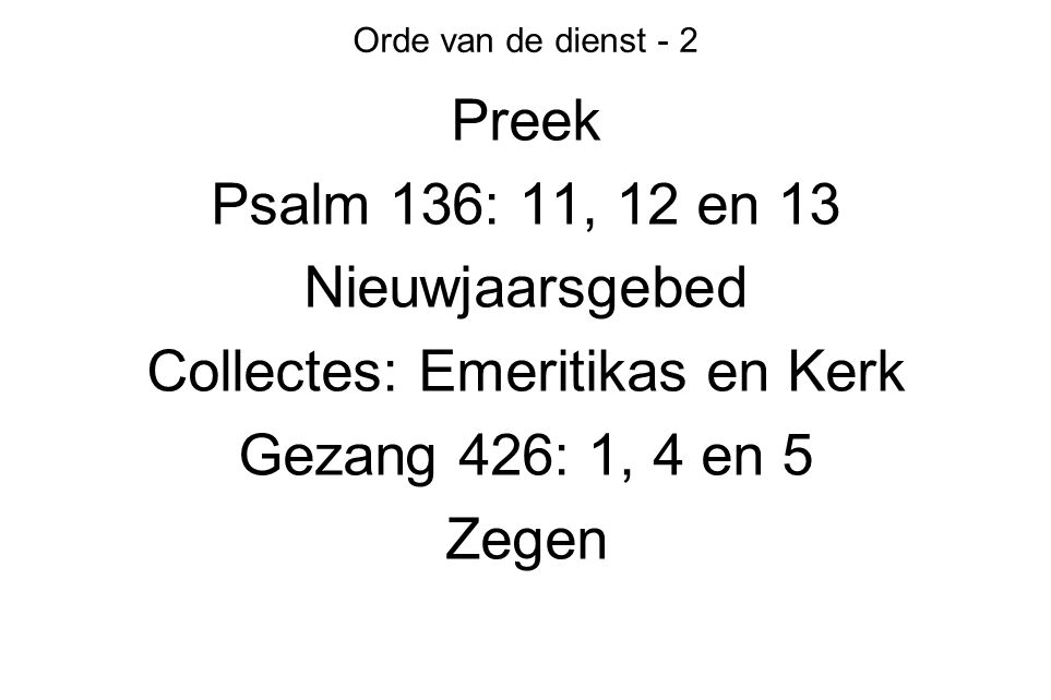 Collectes: Emeritikas en Kerk