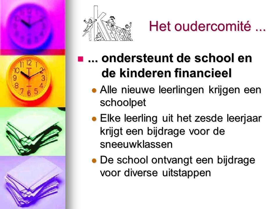 Het oudercomité ... ... ondersteunt de school en de kinderen financieel. Alle nieuwe leerlingen krijgen een schoolpet.